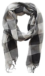 Schal Tuch für Damen und Herren Amira, 70x180 cm, schwarz grau kariert, Damentuch, Herrenschal