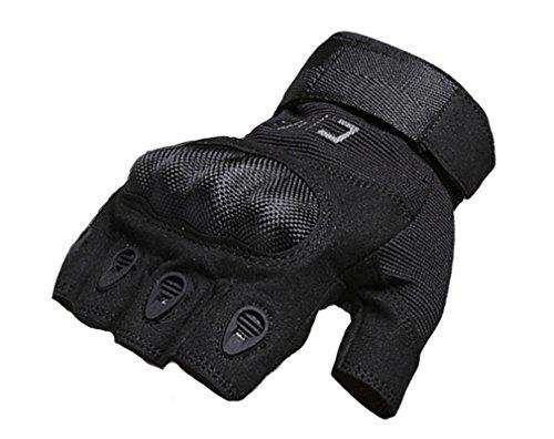 Hikong Herren Taktische Einsatzhandschuhe Handschuhe Sport Outdoor Fitness Training Fahrrad Motorrad Army Gloves Halbfingerfinger 3 Farben (Leder Motorrad Handschuhe Gel Fingerlose)