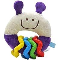 Recién Nacido Anillo de Felpa Suave traqueteo del Animal Relleno del Juguete Campanilla con Rainbow Loop