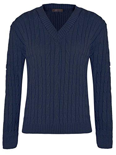 Islander Fashions Frauen Plain V-Ausschnitt Kabel Strickpullover Langarm Pullover Top Marine klein (Cable Pullover Marine Knit)