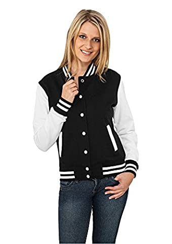 Urban Classics Ladies 2-tone College Sweatjacket - Veste Sweat - Teddy - Manches longues - Femme - Multicolore (Blk/White) - Medium (Taille fabricant: Medium)