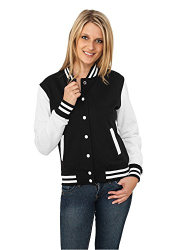 Urban Classics Ladies 2-tone College Sweatjacket, Sweat-shirt Teddy Manches longues Femme, Multicolore (Blk/Wht), XS (Taille fabricant: XS)