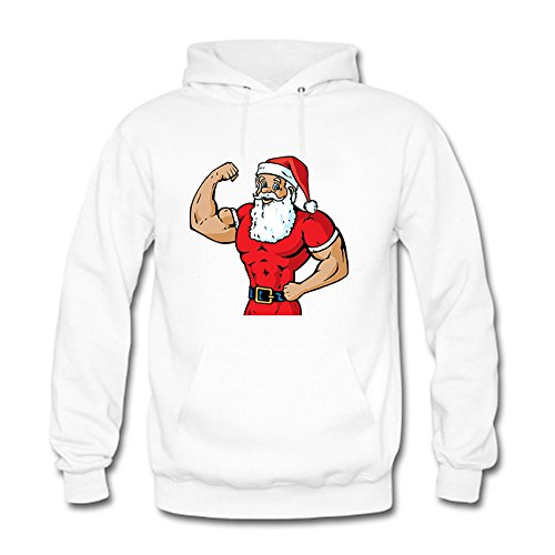 Womens Cartoon Funny Hercules/Santa Claus Printed Cotton Long Sleeve Unisex Hoodie Casual Pullover Hooded Sweatshirt White XL