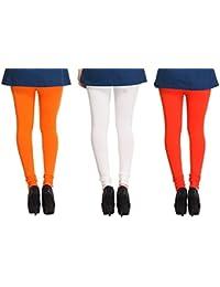 Leggings Free Size Cotton Lycra Churidar Leggings Pack Of 3 Light Orange , OffWhite & Orange By SMEXY