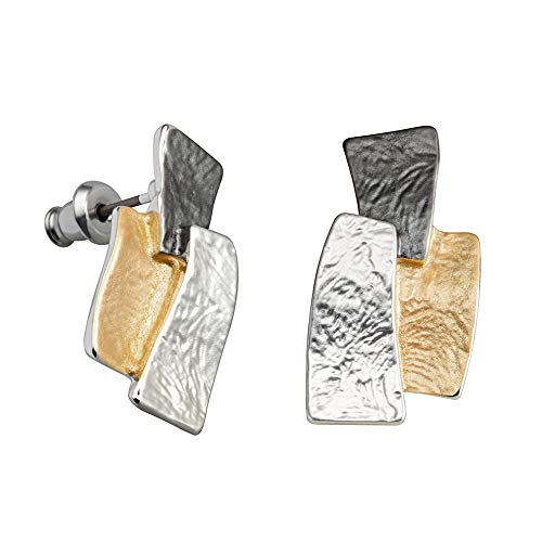 Perlkönig | Damen Frauen | Ohrringe Set | Ear Cuffs | Formen in Schwarz Silber Gold | Tricolor | Matt | Ohrstecker |Nickelfrei