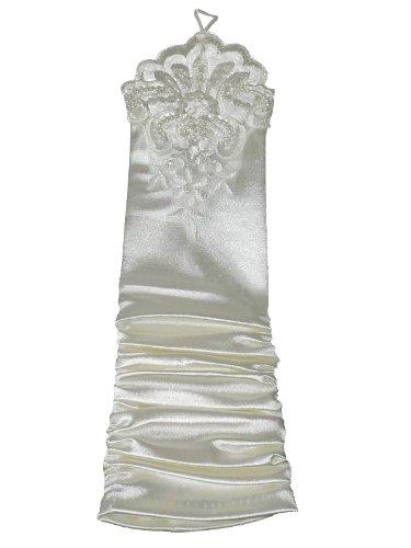 Hochzeits-shop-hamburg 9300-14 Wunderschöne Brauthandschuhe mit Spitze,gerafft,Ivory