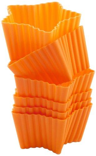 Set de 6 moldes de silicona para cupcakes con forma de estrella, color naranja width=