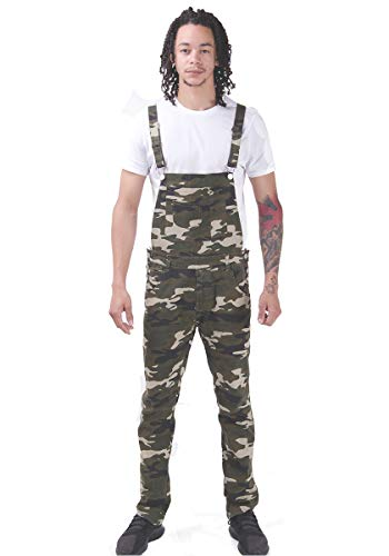 8e4e9a2db Wash Clothing Company Herren Latzhose Skinny Fit Braun Grün Camouflage  Denim Dungarees Overalls