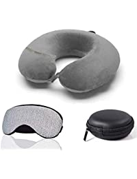 Trajectory 3 in 1 Travel Accessories Combo: Supercomfy Travel Grey Neck Pillow, Sleeping Eye Mask and Black Zipper Case for Earphone(6 Months Warranty)