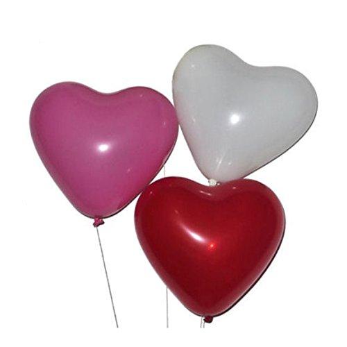 Preisvergleich Produktbild Pixnor 50 Herz Luftballons freie Farbwahl mit Helium Ballon Gas Hochzeit Valentinstag
