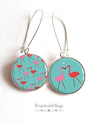 Boucles d'oreilles cabochon asymétriques flamants roses sur fond turquoise
