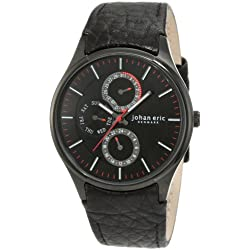 Johan Eric Streur Men's Quartz Watch with Black Dial Analogue Display and Black Leather Strap JE4001-13-007