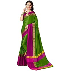 Indian Beauty with Blouse Piece Art Silk Saree (Blue N_Green_Free Size)