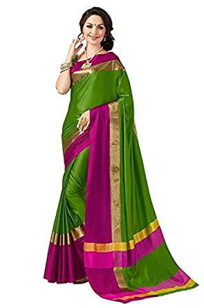 Indian Beauty Cotton Silk Saree with Blouse Piece (Blue N_Green_Free Size)