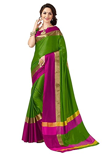 Indian Beauty Women's with Blouse Piece Art Silk Saree (Pink N_Green_Free Size)