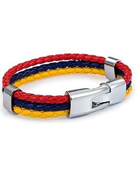 Lederarmband für Herren und Damen, 12mm breit, aus geflochtenen Seilen in den Farben der kolumbianischen Flagge