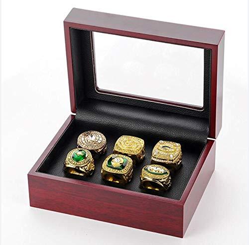 ZXY GF-Sportartikel-Set von 6 Green Bay Packers Championship Replica Ring von Display Box Set-Fashion Gorgeous Collectible Schmuck