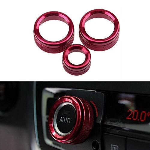 YUGUIYUN 3pcs Bouton de climatisation intérieure Bague Audio Cercle Anneau De Climatisation Bouton (Haut équipé) pour 5 Series / 6 6eries / 7 Series / 5GT - Rouge