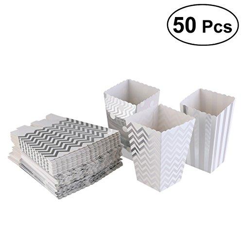 OUNONA - Bolsas de papel para palomitas de maíz, diseño de lunares, color plateado (50 unidades)
