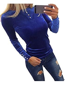 La Mujer Bodycon Scoop Cuello Manga Larga Botones Básicos De Otoño Top Blusa T Shirt