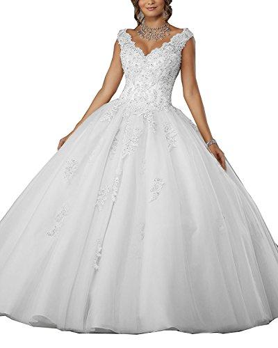f2179082c62292 Carnivalprom Damen V-Ausschnitt Quinceanera Kleider Mit Spitze Abendkleider  Lang Perlstickerei Ballkleid(Weiß,
