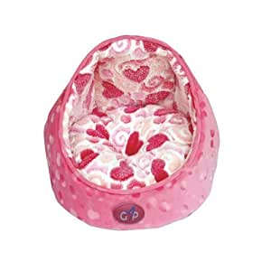 Gor Pets Elan Luxury Cat Snuggle Bed Soft Washable Comfortable - Medium (Pink Hearts)