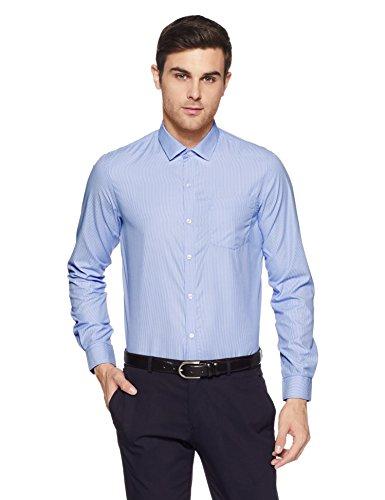 Excalibur EX Men's Solid Regular Fit Formal Shirt (276307821 Blue 40)