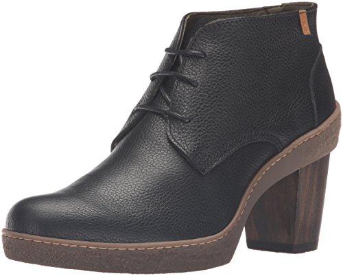 El Naturalista Nf74 Soft Grain Black / Lichen Damen Kurzschaft Stiefel Schwarz (BLACK N01)