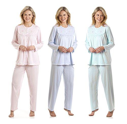 Lot de 2 pour La Marquise Robe de nuit Pantalons de pyjama Cuddleknit brodé Multicolore - Pink & Blue
