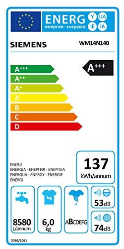 Siemens iQ300 WM14N140 Waschmaschine / 6,00 kg / A+++ / 137 kWh / 1.400 U/min / Schnellwaschprogramm / Nachlegefunktion / aquaStop mit lebenslanger Garantie / - 2