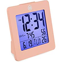 Marathon CL030050PI - Reloj Despertador Digital con Fecha, Temperatura y retroiluminación Color-Rosa.