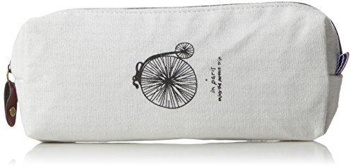 Katara 1800 Estuche de Lápices Escuela / Oficina Papelería - Bolso Escolar con Patrón de Bicicleta Vieja, Blanco