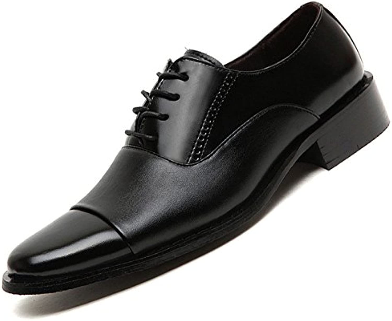 QSCG Herren Lederschuhe Schnürschuhe Business Kleid Schuhe Casual Hochzeit Spitzschuh Smart Schuhe