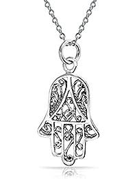 Mano de Fátima Hamsa de filigrana de plata esterlina Colgante Collar de 18 pulgadas