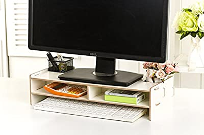2017 Computer Monitor Stand Riser,Wooden Desk Organiser Unit Novelty Moisture proof Stand with 2 Tiers Storage A4 paper keyboard Books Laptop Riser Shelves - low-cost UK light store.