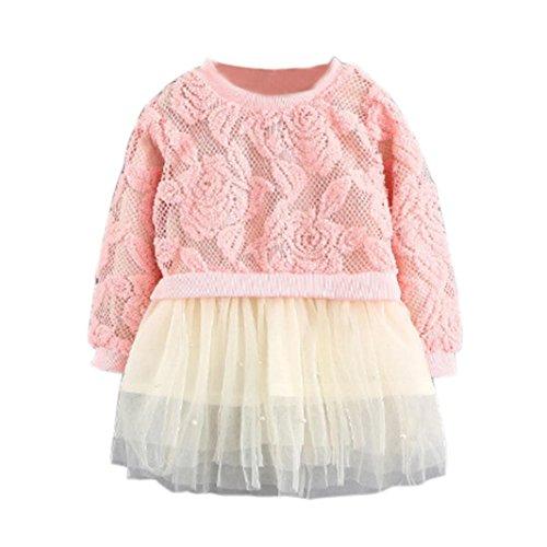 Hirolan Festliche Mädchenkleider Mode Herbst Baby Mädchen Passen Mesh Blumen Miniröcke 0-3 Jahre alt Kleinkind Babykleidung Pullover Oberteile Neugeborene Kleidung (Rosa, 70) (Mesh-rock Set)