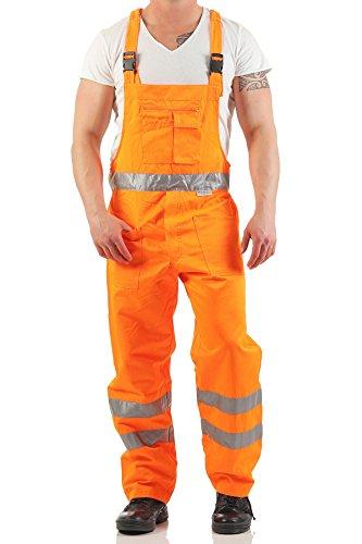 Mivaro Herren Arbeitshose Latzhose mit Relexstreifen in Signalfarbe Orange, Farbe:Orange, Größe Hosen:M