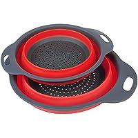 ANPI Escurridor Plegable Colador de Silicona Cesta de Verduras Frutas, Incluye 2 Tamaños de 20 y 24 cm (Rojo)