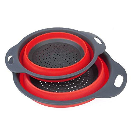 Faltbarer Filterkorb, Siebe Sets2 Stk. Faltbarer Sieb für Platz sparen, Küche für Lebensmittel, Obst, Gemüse Drainage Korb (Red) (Größen Obst Loom)