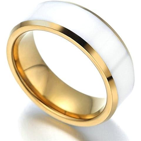 Gnzoe 7MM Uomo Acciaio inossidabile Anello Placcato Oro Uomo Matrimonio Anello,Shell Bianca