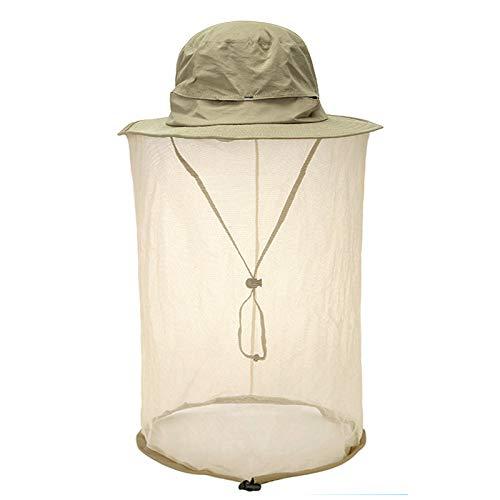 Faletony Kopfnetz Moskito Sonnenhut, Mückenschutz UV Schutz Buschhut Anglerhut Fischerhüte Safari Moskitonetz Hut für Damen Herren (Khaki) Safari-hut Khaki