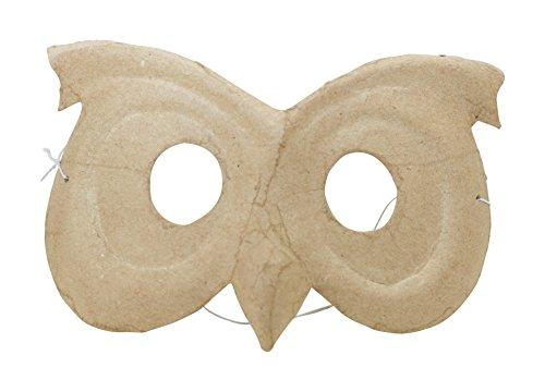 Décopatch AC456O Maske Karneval Eule für Kinder aus Pappmache kartonbraun