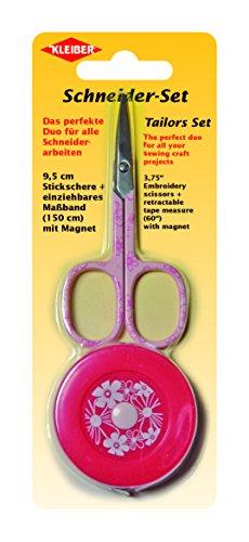 Kleiber Schneider-Stick-Set mit Schere und Maßband mit Magnet, Pinkfarbenfarben Stick-set