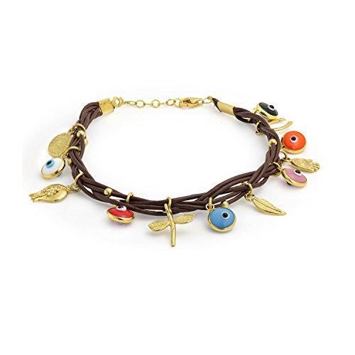 Türkische Böser Blick Multi Dangling Glücksbringer Braun Leder Armband Für Damen 14K Vergoldet Sterling Silber 925