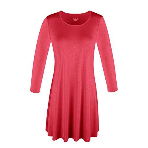 DODOING Damen Rund Ausschnitt 3/4 Ärmeln Tunika Kleid Tops Lose Fit Stretch Basic Casual T-Shirt Kleider (Tall Stretch-stiefel Womens)