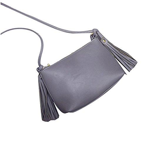 Longra Donne in pelle nappa spalla della borsa Grigio