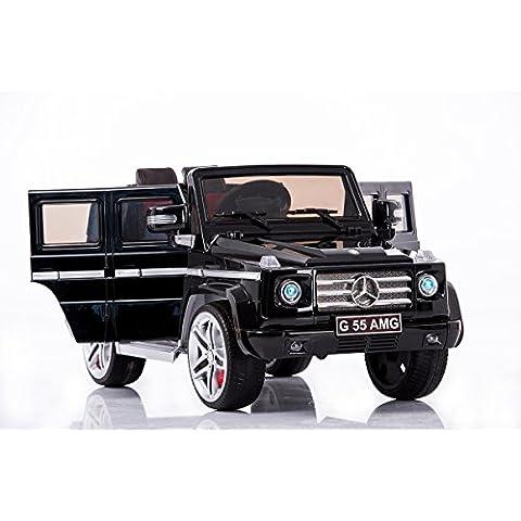 Mercedes G AMG, negro de plástico, los niños del coche eléctrico, coche niños, 2x motor, batería de 12 V, con mando a distancia, Ruedas EVA
