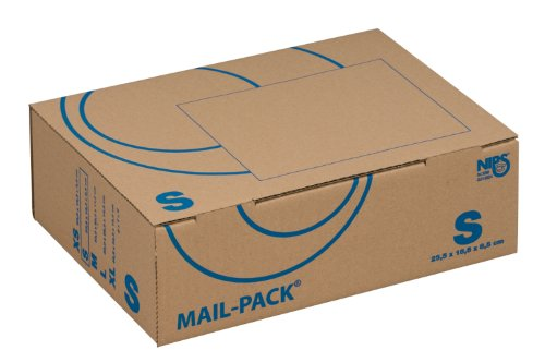 NIPS 141311162 MAIL-PACK® BASIC S (Post-)Versandkarton, 255 x 185 x 85 mm, 20 Stck. gebündelt, braun