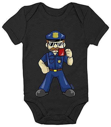 Cop Kostüm Baby - HARIZ Baby Body Kurzarm Polizist Cool Tasse Polizei Cops Inkl. Geschenk Karte Pinguin Schwarz 18-24 Monate