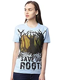 Wolfpack Save Our Roots Light Blue Round Neck Half Sleeves 100% Cotton Girls/Womens T-Shirt for Nature Lover Save Tree